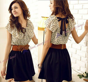 Japan-Korean-Women-Summer-New-Fashion-Short-sleeve-Dots-Polka-Waist-Dress-New