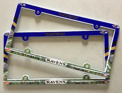 Lot of 2 Baltimore Ravens Car Truck License Plate Frames NEW - THIN PROFILE