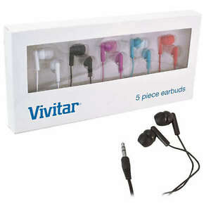 New-5-Pack-Vivitar-Earbud-Noise-Isolating-Headphones-Red-Blue-Pink-Black-amp-White