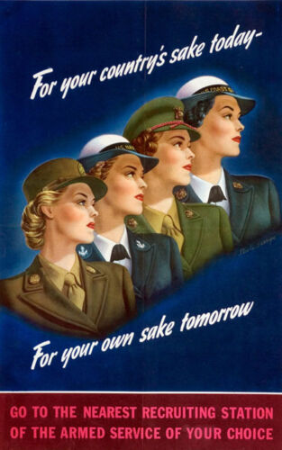 Women Soldier Army Recruiting  Navy American Vintage Poster Repro FREE S/H