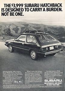 1980-Subaru-Hatchback-Burden-Classic-Vintage-Advertisement-Ad-D45