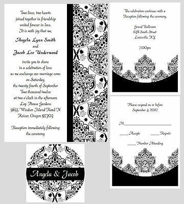 100 Personalized Custom Damask Wedding Invitations Set Seals Any Color Stripes