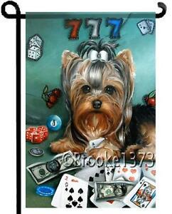 Image Is Loading YORKIE Painting LUCKY DOG GARDEN FLAG Casino Poker