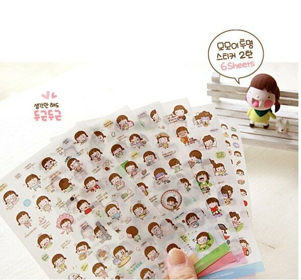 Momoi Girl Card Scrapbooking Diary Decoration PVC Sticker calendar accessory 6ps