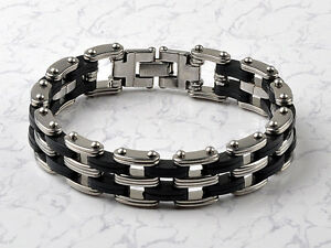 High-Quality-Rubber-Mens-Stainless-Steel-Chain-Bracelet-link-Bangle-wristband