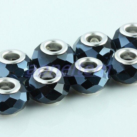 50X Faceted Black Crystal Glass Rondelle Large Hole Beads Fit European Bracelet