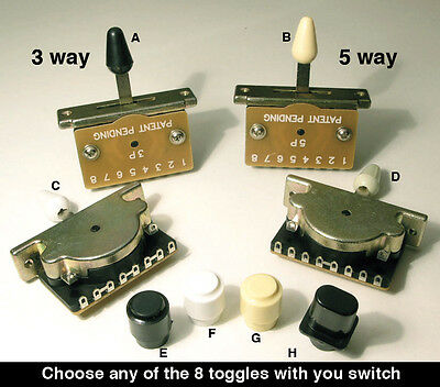 Top quality 3 Way & 5 way Lever Selector Switch & choice of toggle E5 E6