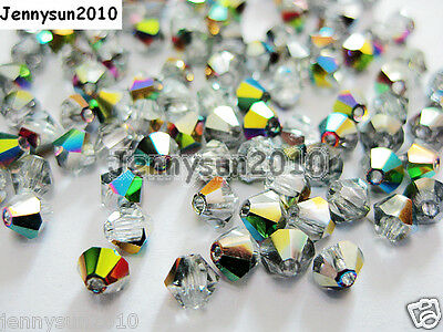 100Pcs Top Quality Czech Crystal Bicone Beads Exclusive 3mm 4mm Crystal Vitrail