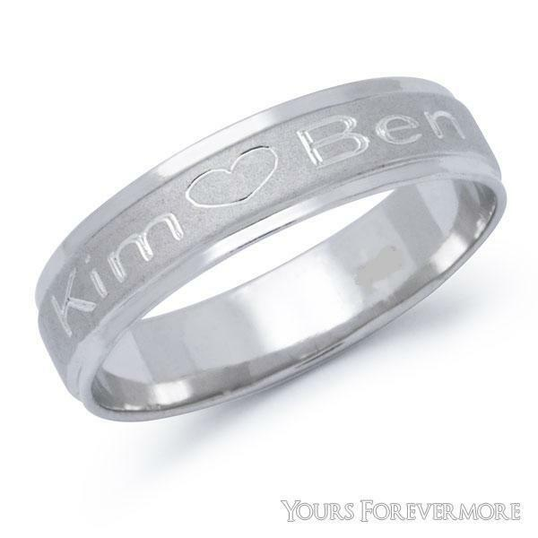 Name Ring Promise Ring Stainless Steel - Personalized / Any 2 Names & Heart Free
