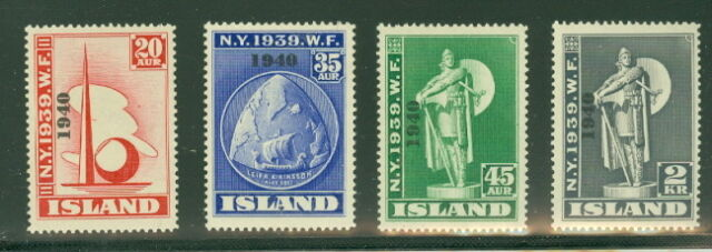 """ICELAND #232-5 Worlds Fair """"1940"""" Ovpt, Complete set NH"""