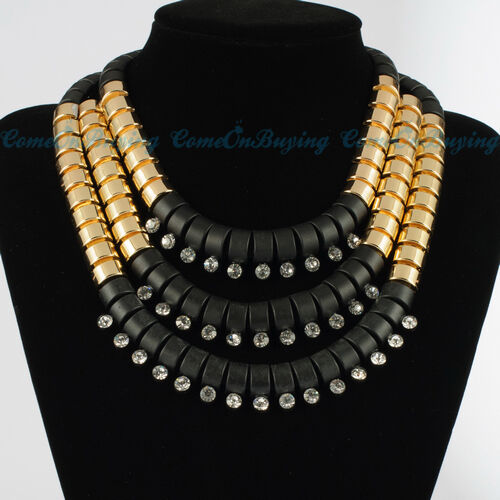 Fashion Gold & Black Multilevel Chains Nodular Resin Crystal Pendant Necklace