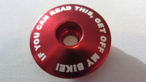 """Headset Top Cap 1-1//8/"""" Threadless Topcap If you can read this get off my bike"""