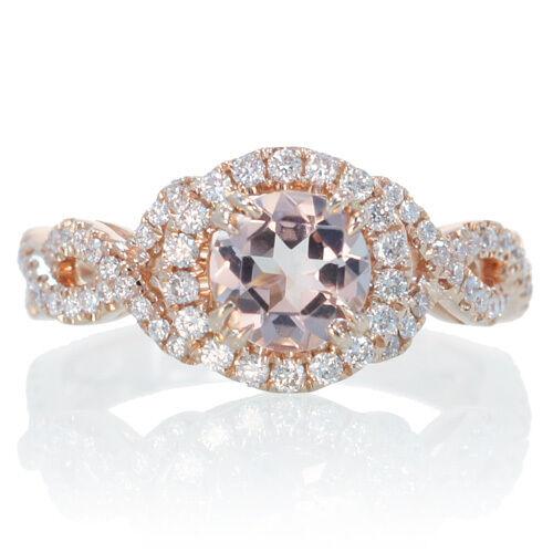 18K 1.05CT ROSE GOLD DIAMOND 6MM ROUND HALO ENGAGEMENT MORGANITE TWIST SIDE RING