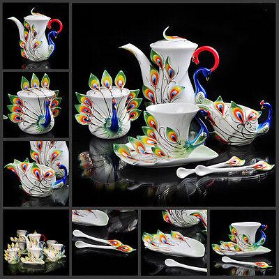 Peacock Coffee Set Tea Set Pot/Cup/Creamer/Saucer/Spoon