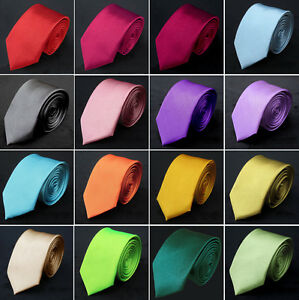 New-Mens-Solid-Color-Plain-Skinny-Tie-UK-Stock