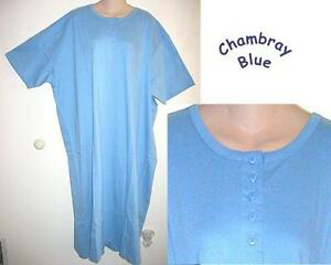 NEW-BLUE-HENLEY-LONG-COTTON-NIGHTSHIRT-O-S-FITS-1X-3X
