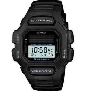 Casio-Solar-200-Meter-WR-Black-Resin-Watch-5-Alarms-HDDS100-1AV