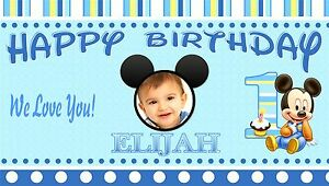 Baby Mickey Mouse Birthday Banner Personalized 1Year Old 1st ...