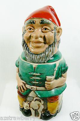 Goebel Merkelbach W Germany Gnome & Cat Figural Pottery Pewter Lidded Stein mug