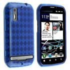 eForCity Blue Argyle Rubber TPU Gel Skin Case Cover+2x LCD Compatible with Motorola Photon 4G MB855 (730274)