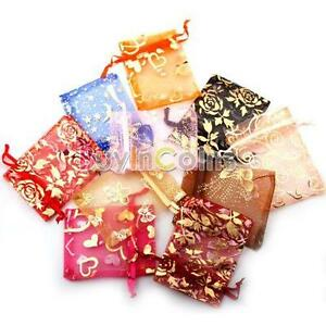 50pcs-New-Organza-Jewelry-Gift-Present-X-mas-Pouch-Bags-7x9cm-Mixed-Colors-SA