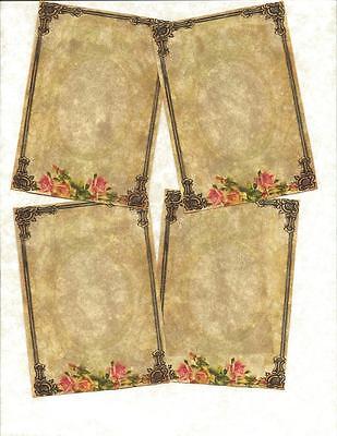 LOT OF~12 Vintage look LABELS~Rose Frames Journal Labels~primitive labels ~