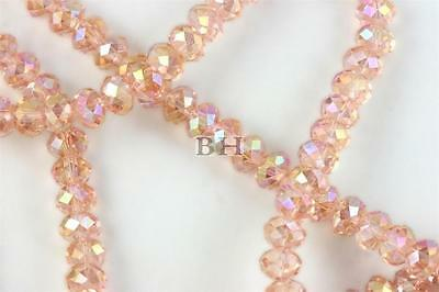 """16"""" Str. 8mm Chinese Crystal Glass Beads Faceted Rondelle Peach Pink Quartz AB"""