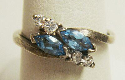 Vintage Antique Estate~Blue Topaz & White Topaz 925 Sterling Silver Ring Sz 7