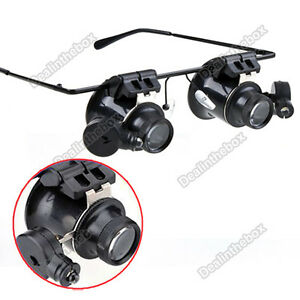 Eyeglasses-Jeweler-20X-Magnifier-Magnifying-LED-Glass-Loupe-Light-Watch-Repair