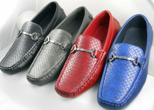 Mens Shoes Casual Driving Moccasins Loafer Woven Synth Lea  Blk Red Navy Grey