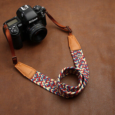 Colorful! Cotton Braided Span/Leather Universal Camera Shoulder Neck Strap 8782