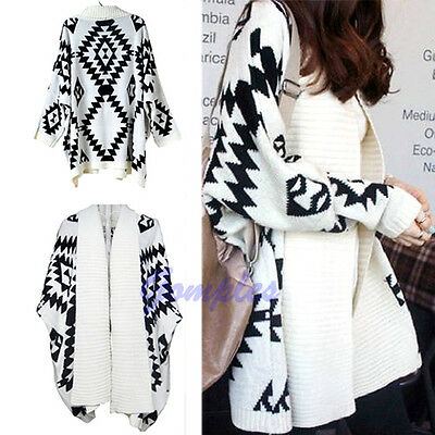 Women Cape Cardigan Oversized Open Front Loose Sweater Geometric Pattern Wrap