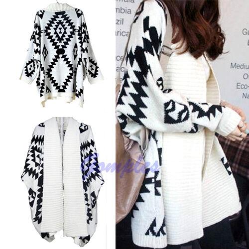 Women Wrap Cape Cardigan Oversized Open Front Loose Sweater Geometric Pattern