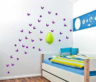 54 Butterfly with Flowers Wall Stickers Up to 54 Vinyl Wall Decor wall Decal