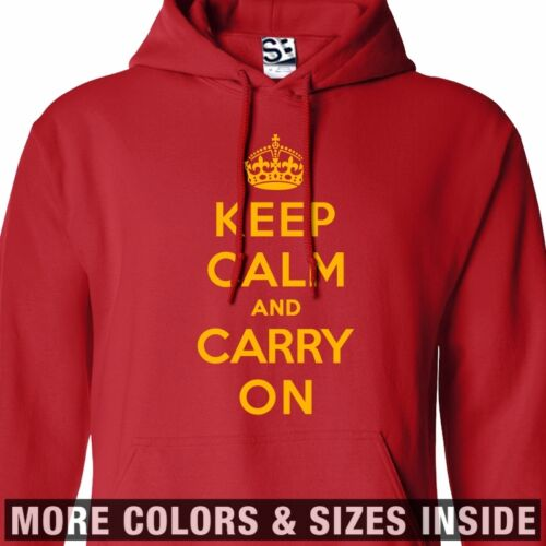 All Sizes /& Colors Keep Calm and Carry On HOODIE Hooded England Sweatshirt