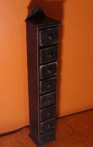 Rustic Black 8 Mini Drawer Wall or Table Cabinet Kitchen Spice Rack Home Decor