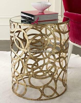 Neiman Marcus Mirror Top IRON SWIRL Scroll Accent Table Gold Contemporary Modern