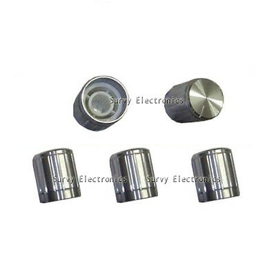 5 pcs Silver Knob Aluminum Alloy for Rotary Taper Potentiometer Hole 6mm DIY New