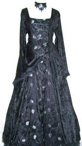 GOTHIC-BLACK-CRUSHED-VELVET-WEDDING-EVENING-PROM-HANDFASTING-DRESS-GOWN-8-10