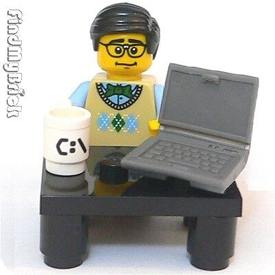 M635 Lego Programmer Minifigure with Computer Table & Cup - (Hiro) 8831 NEW