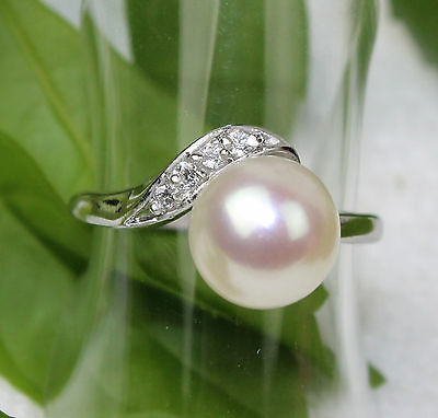 Genuine Freshwater Cultured  white Pearl  Silver Ring