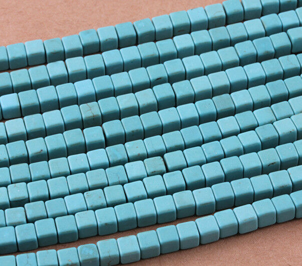 50 pcs Square Turquoise Howlite Gemstone Spacer Loose Beads Charms 6mm