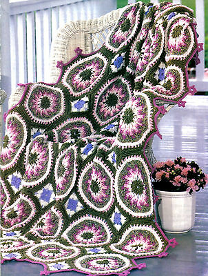 EXQUISITE Springtime Floral Parade Afghan/Crochet Pattern INSTRUCTIONS ONLY