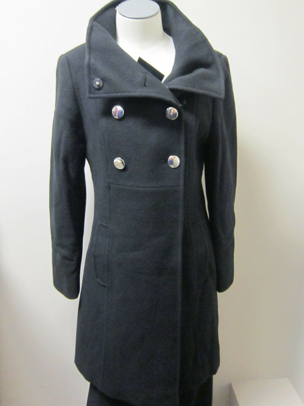 Chequer Petite Double Breasted Military Inspired Coat 6P NWT