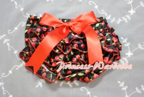 Cherry Print Red Black Bloomers Pantie with Various Bows For Pettiskirt 6m-3Year