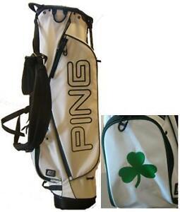 2012-Ping-Golf-Mascot-Custom-Made-Stand-Carry-Bag-White-Shamrock-Very-Rare