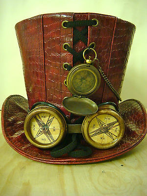 Steampunk Red Leather Look Top Hat with rustic compass, goggle with compass lens