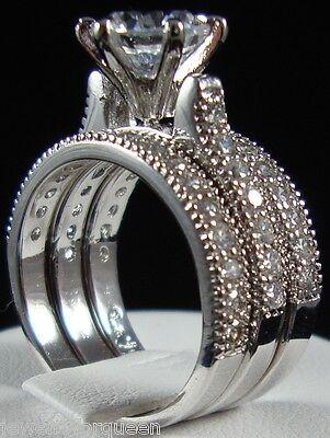 La Foi 3pcs Solitaire w/Accents CZ Cubic Zirconia Wedding ring set 18K Gold GP