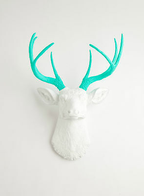 The Oleg - White W/ Turquoise Antlers Resin Deer Head- Stag Faux Taxidermy