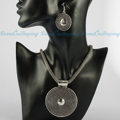 Vintage Silver Chain Circle Round Spiral Pendant Earrings Necklace Sets
